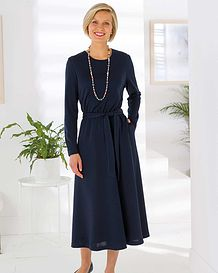 Maisie Wool Blend Navy Dress