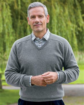 Lambswool V Neck Sweaters  Mens